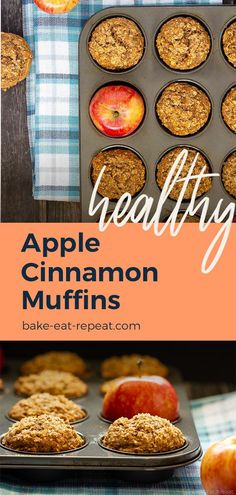 Bake these healthier apple cinnamon oatmeal muffins for the perfect breakfast! , , These apple cinnamon muffins are low in sugar and are made with no oil or butter. Filled with oats and apples they're hearty, delicious muffins that a. Healthy Apple Cinnamon Muffins, Apple Oatmeal Muffins, Apple Cinnamon Oatmeal, Healthy Breakfast Muffins, Oat Pancakes, Breakfast Bake, Apple Recipes Easy, Healthy Muffin Recipes, Healthy Snacks