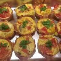 Paleo Breakfast Muffin Recipe: bacon shell filled with eggs and anything else you like to eat for breakfast