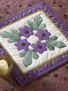 Quilting - Table Topper Quilt Patterns - Circle of Violets Quilted Candle Mat Pattern