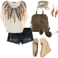 """Summer Fun"" by rachel-norris on Polyvore- I love LOVE the feather print cape top and the faux suede cork wedges!!"