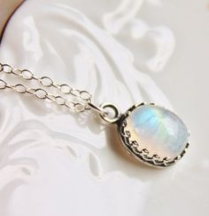 Genuine Moonstone NecklaceSterling Silver by hangingbyathread1  $34