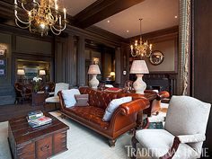 That chesterfield sofa....Swooning! The Sumptuous Hamilton Grand Apartments in St. Andrews | Traditional Home