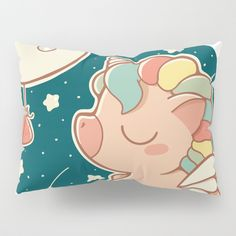 Buy DREAMING ABOUT CARROTS Pillow Sham by sucdecoco. Worldwide shipping available at Society6.com. Just one of millions of high quality products available #kawaii #illustration #unicorn #moon #stars #rainbow #decokids #children #nursery #carrots #society6 #home #pillow #cute #bedroom #bedroomdecor