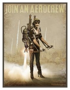 Buy Now Steampunk Vintage Ad Series - Join An Aerocrew - 11 x 14 Art Print by Brian Giberson by indigolights USDThis 11 x 14 photo print of the Arte Steampunk, Steampunk Design, Steampunk Costume, Steampunk Fashion, Steampunk Kids, Diesel Punk, Beatles, The Embrace, Pulp
