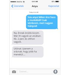 Anya hazaér a munkából Funny Sms, Funny Messages, Just For Laughs, Cringe, Funny Photos, Haha, Jokes, Minden, Reading