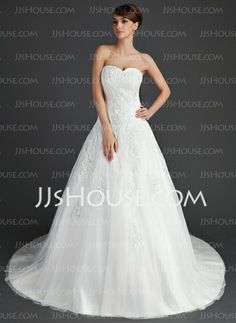 Wedding Dresses - $179.99 - Ball-Gown Sweetheart Chapel Train Satin Tulle Wedding Dress With Lace (002011656) http://jjshouse.com/Ball-Gown-Sweetheart-Chapel-Train-Satin-Tulle-Wedding-Dress-With-Lace-002011656-g11656/?utm_source=crtrem_campaign=crtrem_US_28010
