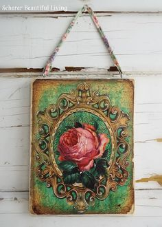 Rose Victorian Style French Bohemian Chic Plaque Sign Garden Home Decor Wall Art #FrenchBohemian