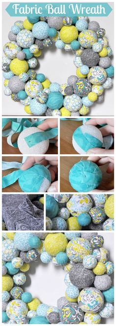Fabric Ball Wreath - I am so excited about my spring wreath in aqua, lemongrass green, and gray patterns! It looks fabulous in our house and would be so adorable in a nursery. {The Love Nerds} springwreath crafts tutorial - DIY Project Idea How To Make Wreaths, Crafts To Make, Arts And Crafts, Diy Crafts, Cork Crafts, Fabric Balls, Fabric Wreath, Wreath Crafts, Diy Wreath