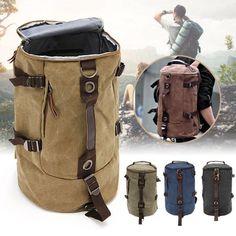 Geneirc Men Canvas Travel Hiking Camping Backpack Canvas Rucksack Vintage Retro Rucksack Tote School Bag Travel Gym Shoulder Bag Luggage Hand Bag