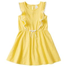 Girls' Flutter Sleeve Pom Pom Dress