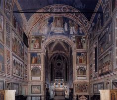 The Scrovegni Chapel, Padua, Italy, viewed from the entrance by Giotto di Bondone, Marcel Proust, Padua Italy, Villas In Italy, Medieval Gothic, Late Middle Ages, Call Art, Italian Painters, Visit Italy, Italian Renaissance