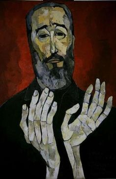 A painting depicting Cuba's leader Fidel Castro, by late Ecuadorian painter Oswaldo Guayasamin, is