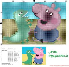 George Pig and his Mr Dinosaur from Peppa Pig Jumper Knitting Pattern, Knitting Charts, Knitting Patterns Free, Free Pattern, Stitch Character, Kid Character, Cross Stitch Embroidery, Cross Stitch Patterns, Peppa Pig Family