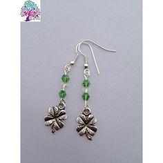 $6.00 Four Leaf Clover with Green Earrings by NeckArt on Handmade Australia