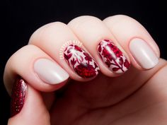 Ruby red floral print by @chalkboardnails #31dc2014