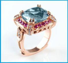 845 CT Aquamarine Rose Gold Cocktail Ring by DiamondsForeverSD, $4300.00