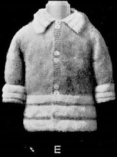 A boy's coat, knitted in teazle wool, which is then brushed to give a fur-like nap to the fabric. The coat is knitted from the bottom up in pieces, with the sleeves knitted from the top down and then seamed. The collar is knitted separately and sewn on.