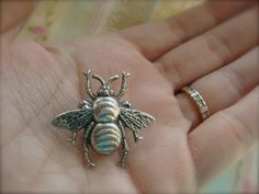 Victorian Bee Brooch or Lapel Pin In Antiqued Silver