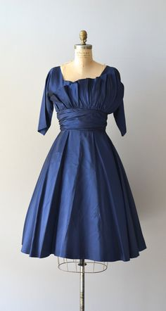 1950's Navy Silk Dress