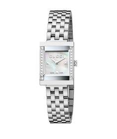 La montre G-Frame en acier et nacre de Gucci http://www.vogue.fr/joaillerie/le-bijou-du-jour/diaporama/la-montre-g-frame-en-acier-et-nacre-de-gucci/15412