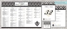 ELEGANT DAMASK SEATING CHART + Matching day of wedding stationery • seating plan