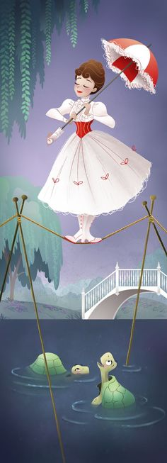 Mary Poppins Tightrope Walker Haunted Mansions Artist Heather Dixon