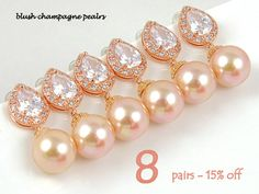 Pearl Earrings Bridesmaid Gift Set of 8 15% Off Wedding Earrings Bridal Earrings Wedding Favor Wedding Jewelry Rose Gold Earring