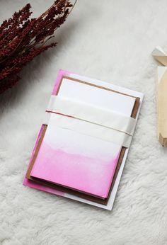 Dip Dyed Valentine's Day Stationery