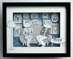 Shadow box 3D paper cut  Tea time cats in blue by lukaluka on Etsy, $50.00