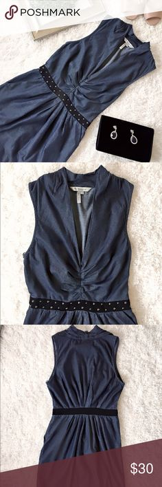 """BCBGeneration Denim Dress Denim with studded belt. 2 side pocket. Hidden side zip and hook and eye closure. 100% cotton. Size 2 , 33"""" long from shoulder to  Seam. Fairly new. BCBGeneration Dresses Midi"""