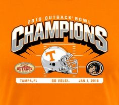 Champs of the Tennessee vs Northwestern Outback Bowl played in Tampa, FL on Jan. 1 st, 2016.