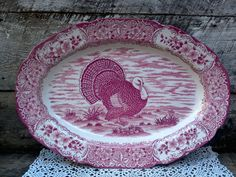 """Antique Ironstone, Heavy Red and White Turkey Serving Platter 20"""" x 14""""…"""
