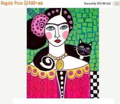 50 % de réduction Storewide-Mexican Folk Art - Black Cat impression oeuvres de Frida Kahlo (HG629)