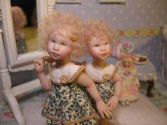 ~New Original Work~Direct From Artist Carol McBride Miniature Girl Dolls Sisters
