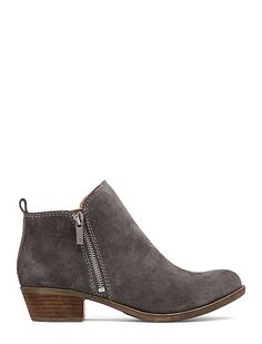 Women's Heels - - Basel Zippered Bootie in Grout Grey Suede Pink Knee High Boots, White Ankle Boots, Ankle Booties, Knee Boots, Bootie Boots, Heeled Boots, Grey Booties, Flat Booties, Suede Booties