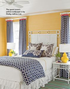 Pink, yellow, and navy makes for a fun spin on the primary color palette in this vividly inviting guest room. White furnishings and trim help ground the cacophony of color. Blue Bedroom, Master Bedroom, Bedroom Decor, Bedroom Ideas, Yellow Bedrooms, Bedroom Colors, Master Suite, Coastal Bedrooms, Guest Bedrooms