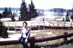 Jo on boardwalk with Yellowstone Lake in background