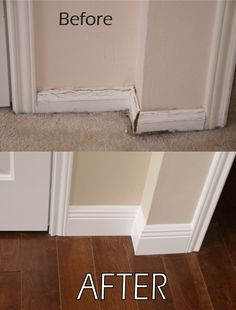 BIG IMPROVEMENT: This area had wood rot and mold build up in carpet from a leak. RPD replaced the flooring with wood, upgraded the baseboards and gave it fresh paint.