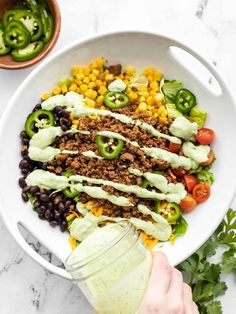 This Turkey Taco Salad is an easy, light, and fresh dinner that's flexible enough to feed all your family members, no matter how picky! BudgetBytes.com Egg Free Recipes, Turkey Recipes, Dinner Recipes, Turkey Dishes, Beef Recipes, Recipies, Taco Seasoning Packet, Homemade Taco Seasoning, Creamy Avocado Dressing