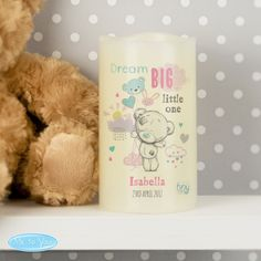 A stylish Nightlight LED Candle displaying the adorable Tiny Tatty Teddy character.   This Personalised Tiny Tatty Teddy Dream Big Pink Nightlight LED Candle can be personalised with a name up to 12 characters and with a line of text with up to 20 characters.  The name is case sensitive and will appear as entered. The line of text will appear in upper case.   The words 'Dream big little one' are fixed and cannot be amended.   The nightlight LED candle has a flickering effect flame and is…