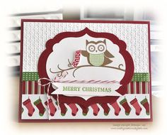 This card is made with the new Owl Occasions stamp set in the upcoming Holiday Catalog (customers can order August The stamp set is. Whimsical Owl, Whimsical Christmas, Handmade Christmas, Christmas Card For Teacher, Stampin Up Christmas, Card Making Inspiration, Making Ideas, Owl Card, Engagement Cards