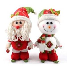 Snowman And Santa Claus Skiing Sporting Christmas Doll Set