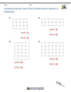 Convert the rectangular arrays into multiplication facts.