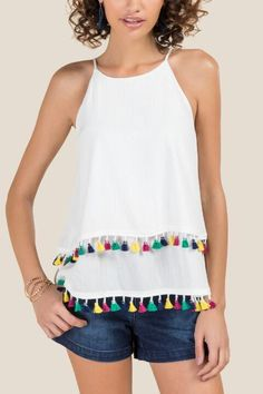 Elodie High Neck Tassel Sleeveless Tank. Great for Summer 2018. On trend tassel boho top. White with colorful tassel detail. #boho #fashion #trends #tassel #fashionista #ad