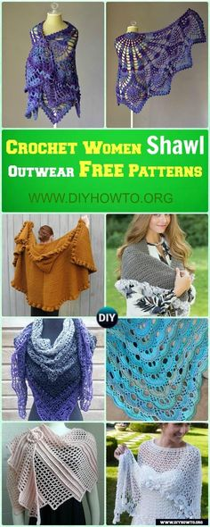 A  list of gorgeous handmade shawl wrap to keep ladies in warmth and in style: worked in different stitch of patterns via @diyhowto