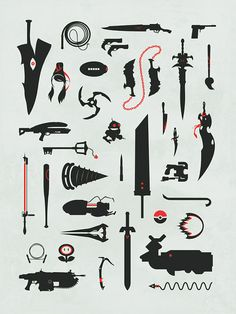 Video Game Weapons Gaming Swords Guns Collage by jefflangevin, $12.00 #gaming #weapons #videogames