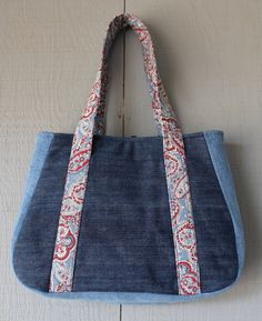 Denim and Canvas Handbag with front Pocket and by AllintheJeans