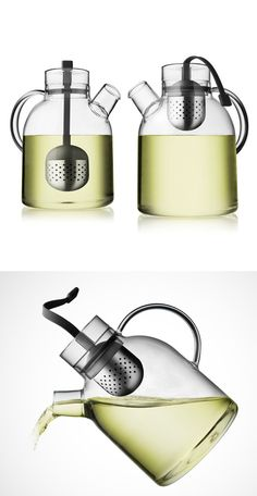 Modern tea kettle - pull the infuser up when tea is ready for serving.