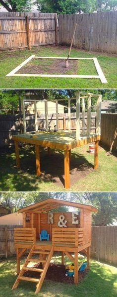 Pick up some lumber to create an incredible play fort for kids outdoor play area for kids Outdoor Forts, Kids Outdoor Play, Outdoor Play Areas, Kids Play Area, Backyard For Kids, Outdoor Fun, Outdoor Decor, Backyard Play Areas, Playhouse Outdoor