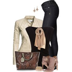 Cream Leather Jacket & Jeans, created by daiscat on Polyvore